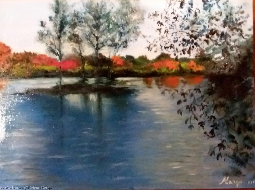 Artwork >> Salaun Margo >> Impression of evening d'automne on lake from there Foltiere