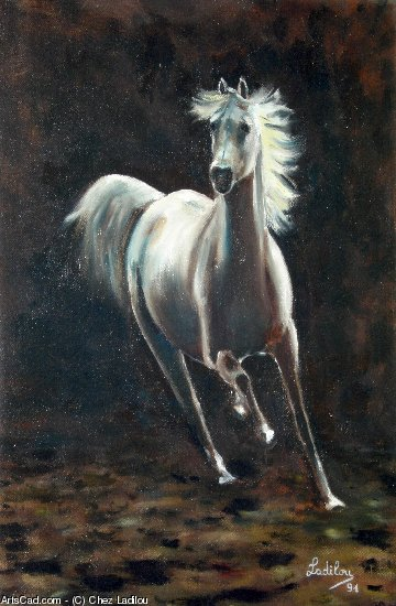 Artwork >> Chez Ladilou >> white horse at the merrygoround
