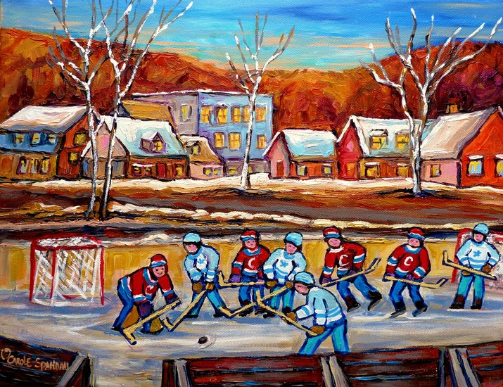Artwork carole spandau parti de hockey un jour d for Patinoir exterieur montreal