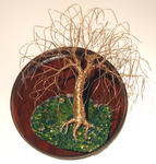 Sal Villano Wire Tree Sculpture - WILLOW on ROUND BASE - Wall Art Sculpture, by Sal Villano
