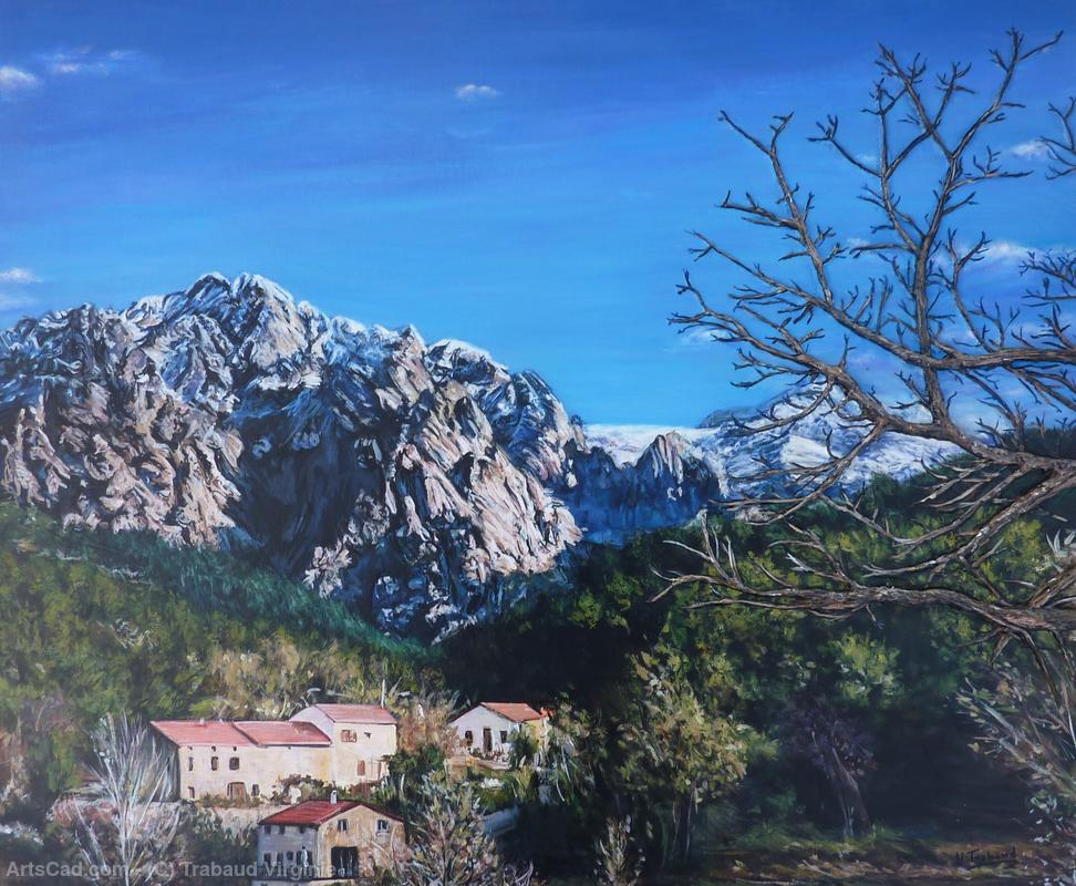 Artwork >> Trabaud Virginie >> mountain views - the village from guagno Corsica