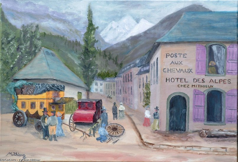 Artwork >> Jean Mithieux >> the hotel from Alps