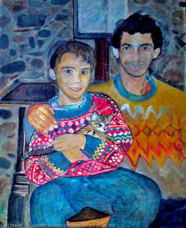 Artwork >> Grégoire Koboyan >> father son  up and  cat