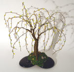 Sal Villano Wire Tree Sculpture - Beaded on Black Base - Wire Tree Sculpture