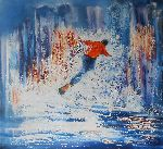 Natalya Zhdanova - Large oil painting sport snowboarder figure art canvas