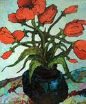 Russian Impressionism - Red flowers The sketch