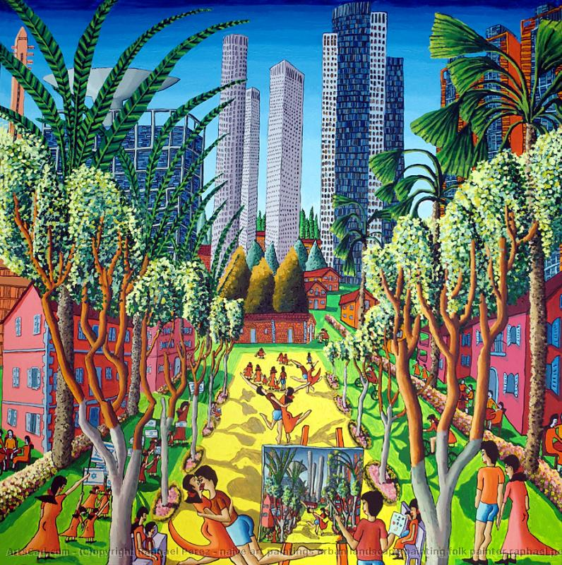 Artwork >> Raphael Perez >> naive art paintings urban landscape painting folk painter raphael perez israeli artist
