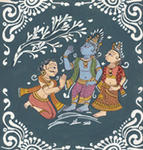 Classical Indian Art Gallery - KRISHNA BLESSES AKRURA