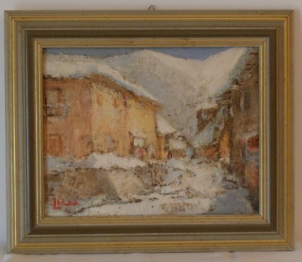 Artwork >> 2 Luigi Raimondi 1921 1986 >> snowfall in St. Mary