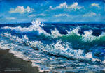 Valery Rybakow - Oil Painting: Wind plays with sea wave off the coast.