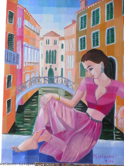 Artwork >> Regard Sur Une Oeuvre >> girl up in  pink  at  Venice
