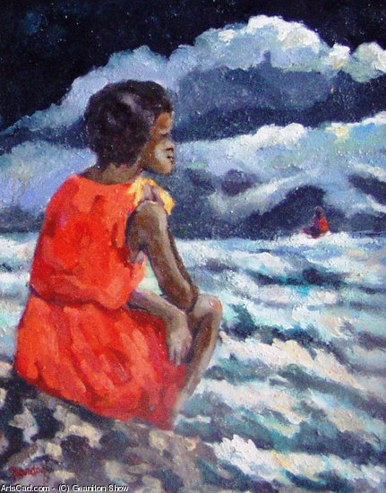 Artwork >> Geaniton Show >> Young to lady watching stormy sea