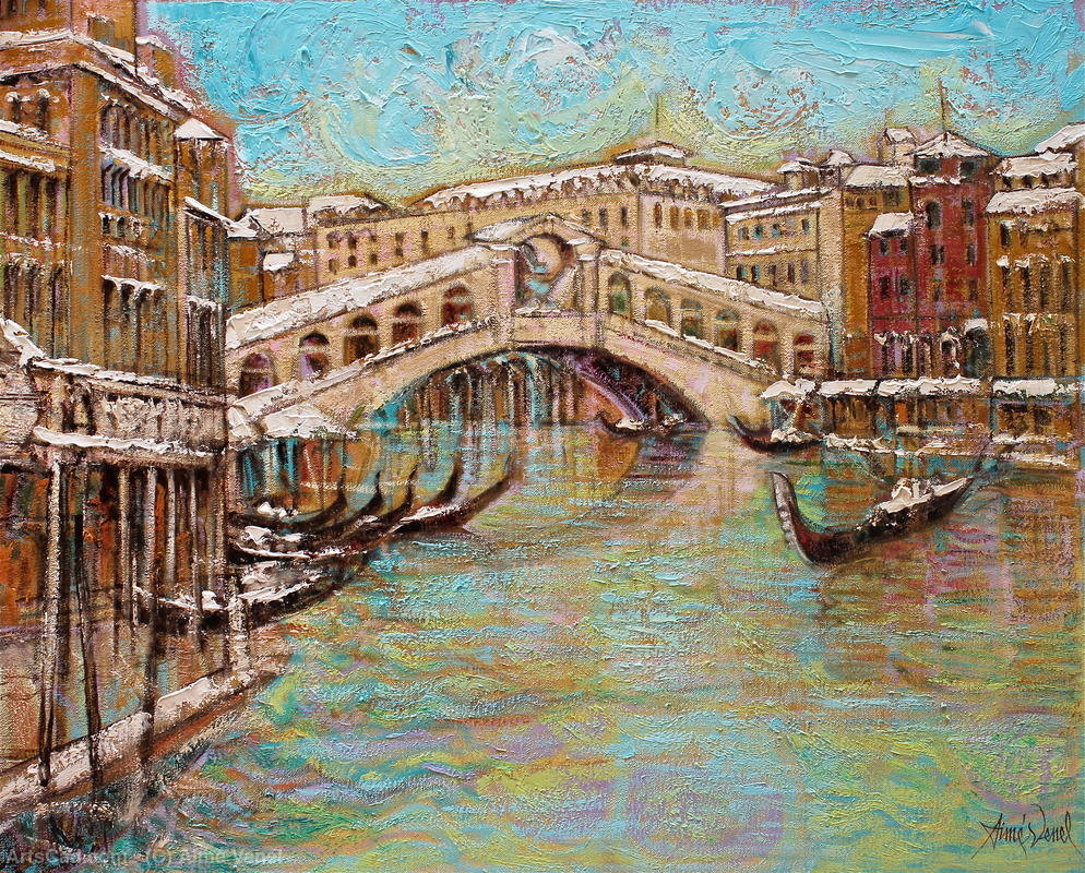 Artwork >> Aimé Venel >> Venice , the bridge Rialto