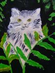 Marie Christine Legeay - THE CAT THEM IN FERNS - TEA CAT IN TEA FERNS