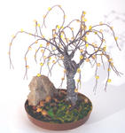 Sal Villano Wire Tree Sculpture - Beaded in Brass - Wire Tree Sculpture