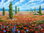 Valery Rybakow -  Flowers oil painting the Field of red poppies. Palette knife Paintings for sale.