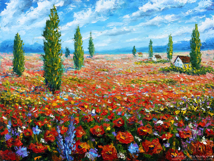 Artwork >> Valery Rybakow >>  Flowers oil painting the Field of red poppies. Palette knife Paintings for sale.