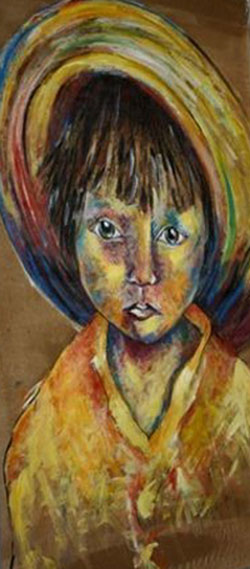 Artwork >> Annie Predal >> The Kid at the  hat  SOLD.