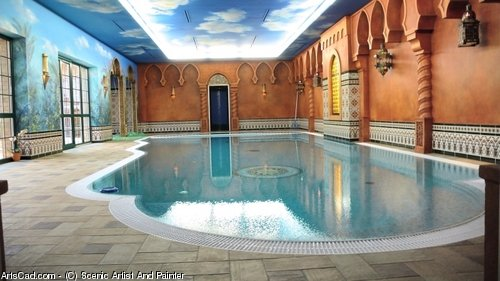 Artwork >> Scenic Artist And Painter >> Exotic Swimming Pool
