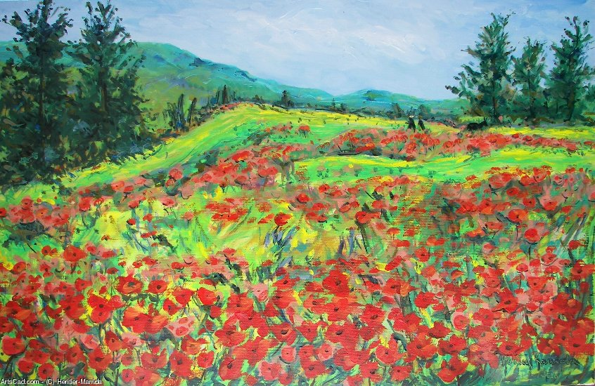 Artwork >> Heritier-Marrida >> Field of Poppies up in  Corsica