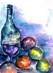Leonard Shane - Still Life of Wine Bottle and Fruit
