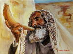 Carole Spandau - RABBI BLOWING SHOFAR