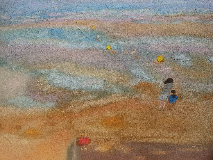 Artwork >> Pasqui R >> Mother and children on the beach