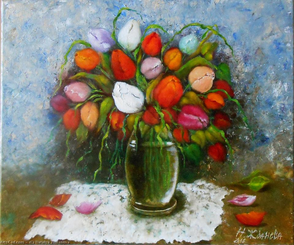 Artwork >> Natalya Zhdanova >> Flowers tulips colorful bouquet in vase