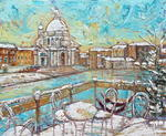 Aimé Venel - Terrace snow in venice