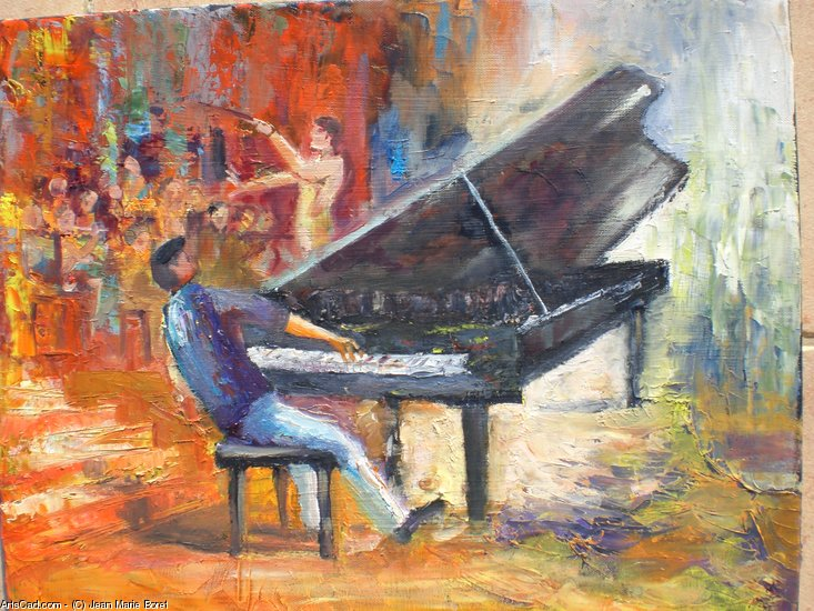 Artwork >> Jean Marie Boret >> The Pianist up and his orchestra