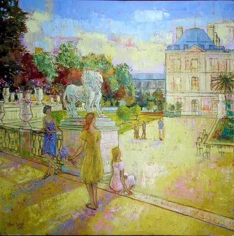 Artwork >> Aimé Venel >> View on the palaces luxembourg