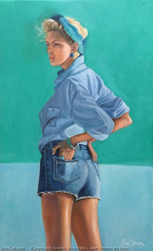 Artwork >> France Mondello >> a woman up in  with blue