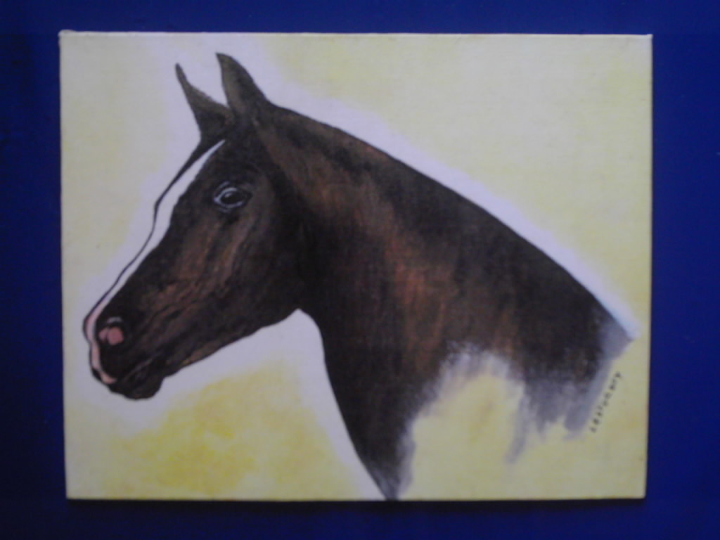 Artwork >> Galerie Lv >> HORSE PORTRAIT ON THE BACKGROUND YELLOW ( breeding dice l'une of my paints )