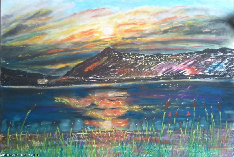 Artwork >> Pasqui R >> Sunset on the lake