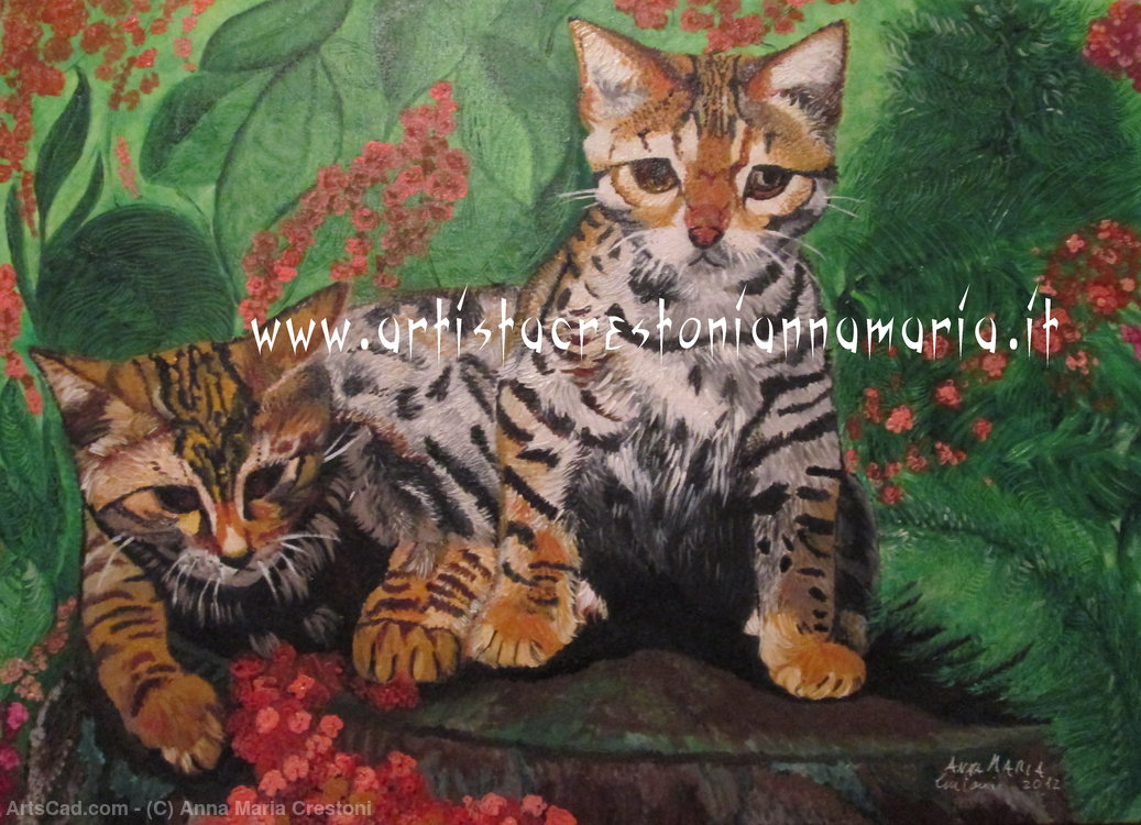 Artwork >> Anna Maria Crestoni >> Anna Maria Crestoni - Savannah Kittens - Oil on Canvas 70 x 50 Technique Brush - year 2012