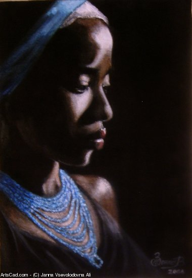 Artwork >> Janna Vsevolodovna Ali >> African woman with blue necklace