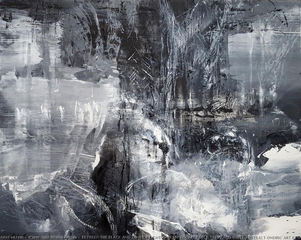 Artwork >> Ovidiu Kloska >> BETWEEN THE BLACK AND DIVINE 4 LIGHTSCAPE MINDSCAPE BLACK GREYS AND WHITE ABSTRACT ONEIRIC ART BY O KLOSKA
