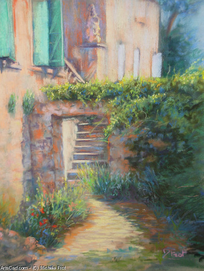 Artwork >> Michele Frot >> stairway from  garden  of the  Luberon