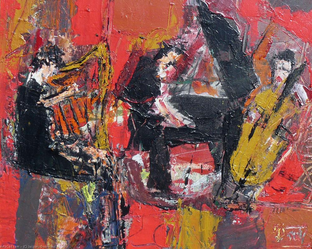 Artwork >> Jacques Donneaud >> Musical trio with harp