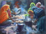 Michele Frot - Moroccan women up in  kitchen