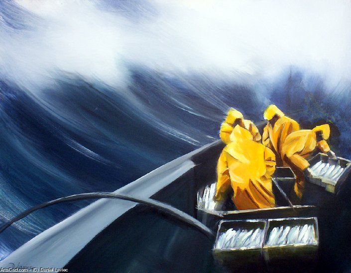 Artwork >> Daniel Laviec >> sailors up in  Sea in