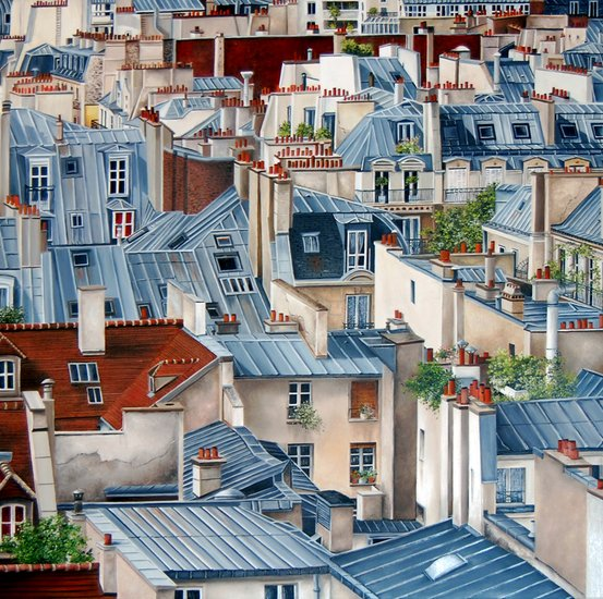 Artwork >> Marie-Claire Houmeau >> the Paris up and  his  roofs