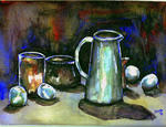Leonard Shane - Still Life of Water Jug and Fruit