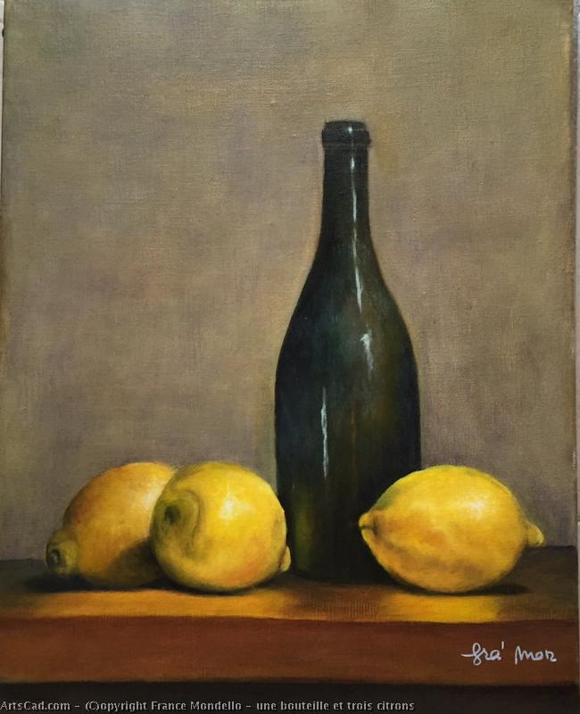 Artwork >> France Mondello >> A bottle up and  three  lemons
