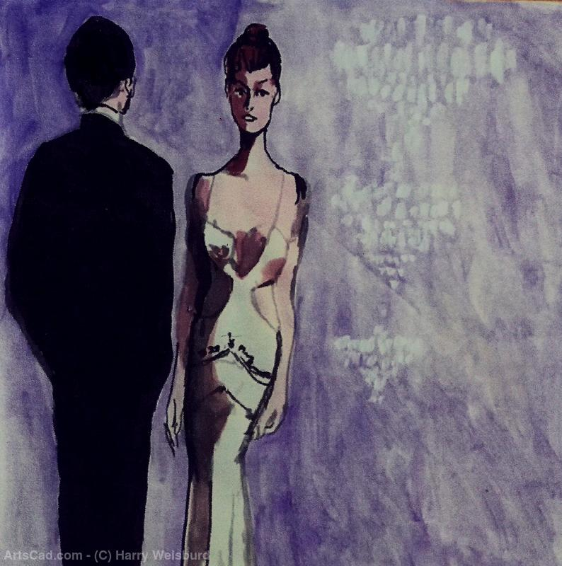 Artwork >> Harry Weisburd >> Woman In White Cut Out Gown