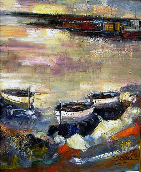 Artwork >> Pedro Castaño >> ANCHORED BOATS