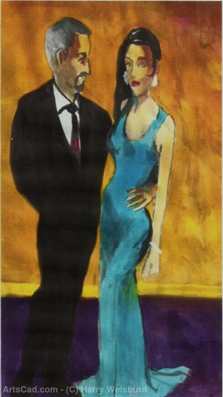 Artwork >> Harry Weisburd >> Woman In Blue Dress With Man