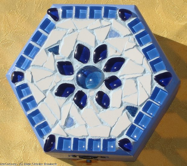Artwork >> Marie Christine Beaulande >> jewelry box mosaic of bloom Blue