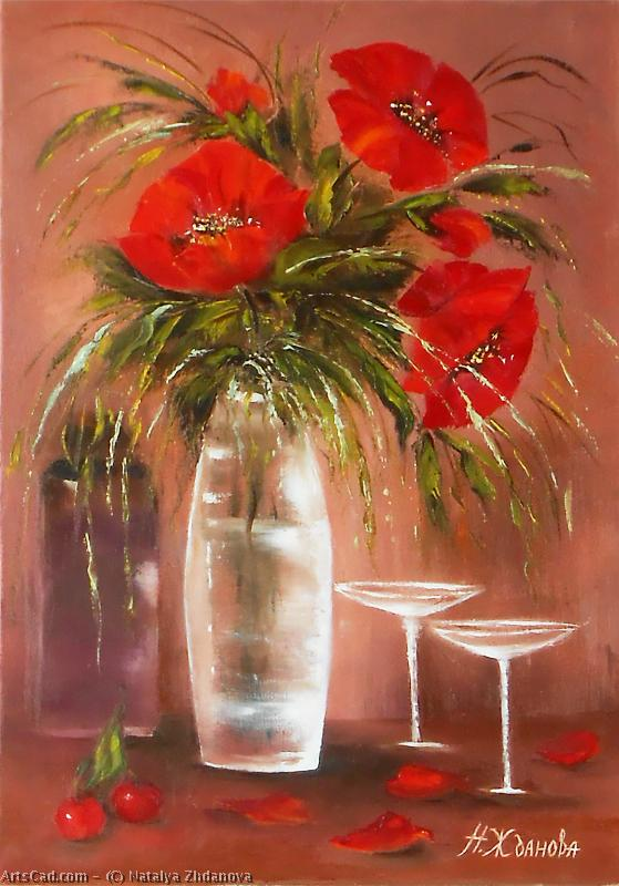 Artwork >> Natalya Zhdanova >> stil life flowers red poppies original oil painting