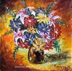 Valery Rybakow - Painting: Cheerful bouquet 108. Painting flowers.